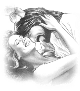 Jesus and bride in loving embrace