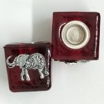 Elephant Wish Candle Holder Red