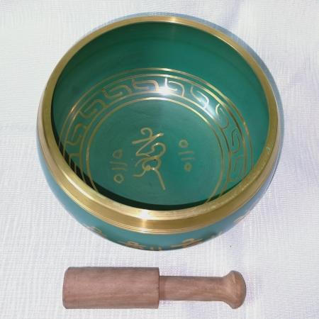 Singing Bowl 14cm Green (top view)