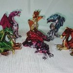 Small Coloured Dragon Statues