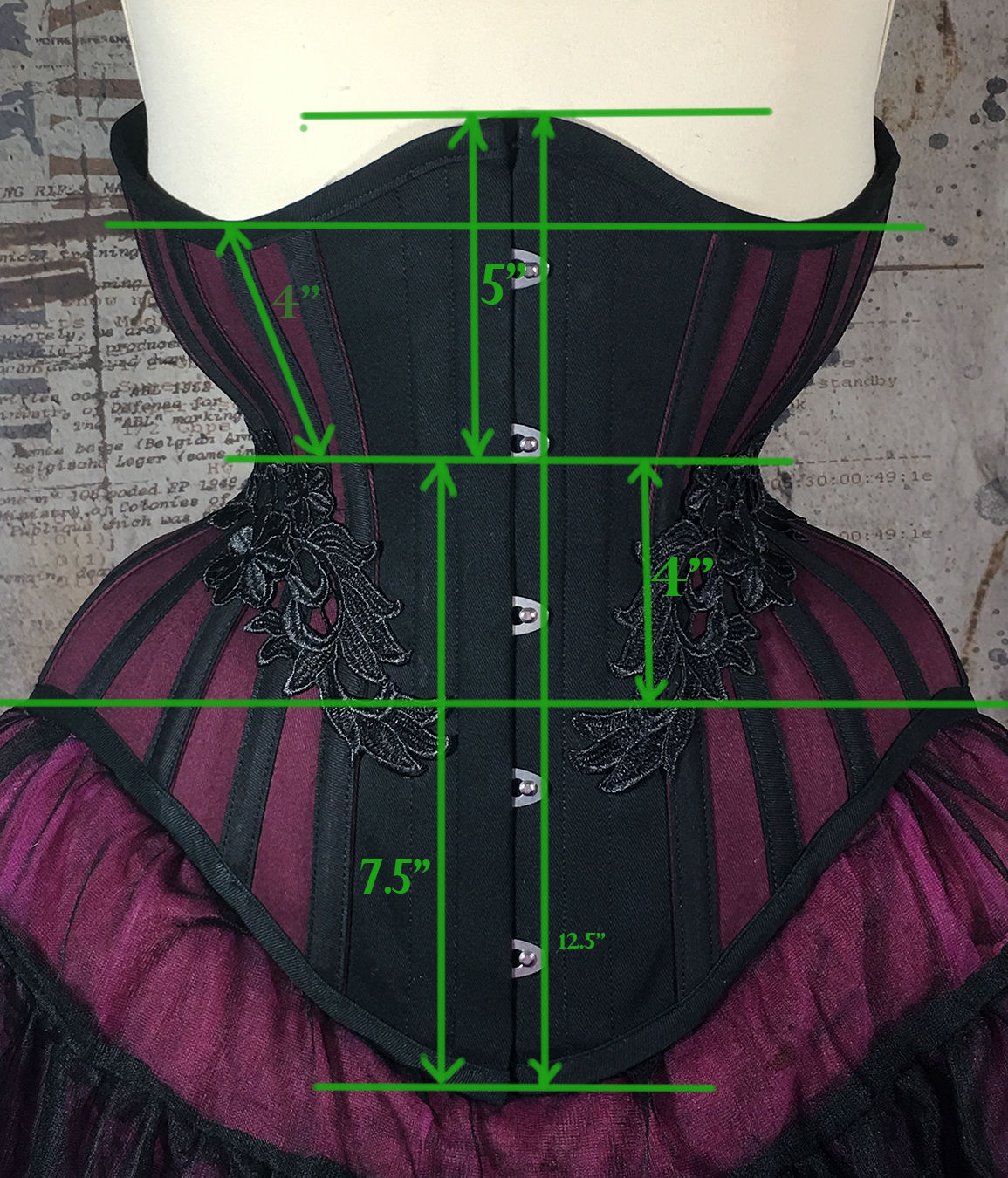 MCC60 Burgundy/Black Cotton with Lace Underbust Corset