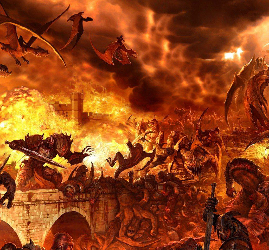 Wallpaper Falling Off Wall The Chaos Of Unholy War Reigns Supreme In Hell Mystic
