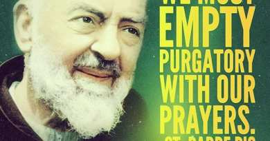 "St Padre Pio's visions of the souls in Purgatory:  ""I died, suffocated and burned. I am still in Purgatory. I need a holy Mass in order to be freed. God permitted that I come and ask you for help."""