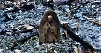 "Emotional Video –  ""Only things that survived were holy things""  Virgin Mary Miraculously Intact after fire caused by ""Harvey"""