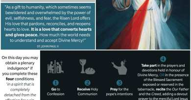 Divine Mercy Sunday…Three conditions for the plenary indulgence
