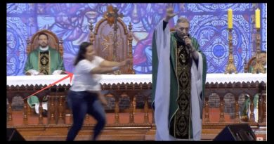 Crazed Woman Shoves Prominent Priest Off Altar During Mass – Crowd of 50,000 Gasps –  Shock Video