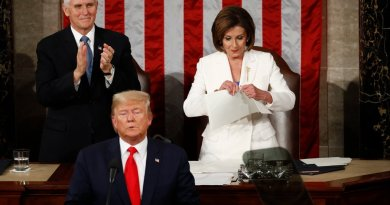 "Watch it again and again! Nancy Pelosi America's most confused Catholic rips up speech as Trump says ""God Bless America"""