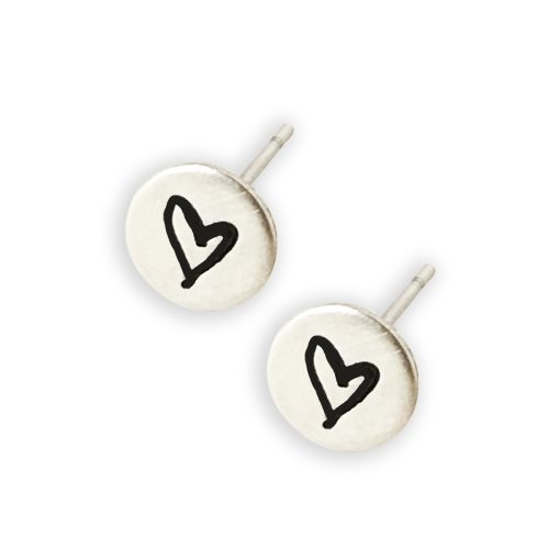 Sterling Silver Dainty Heart Stud Earrings