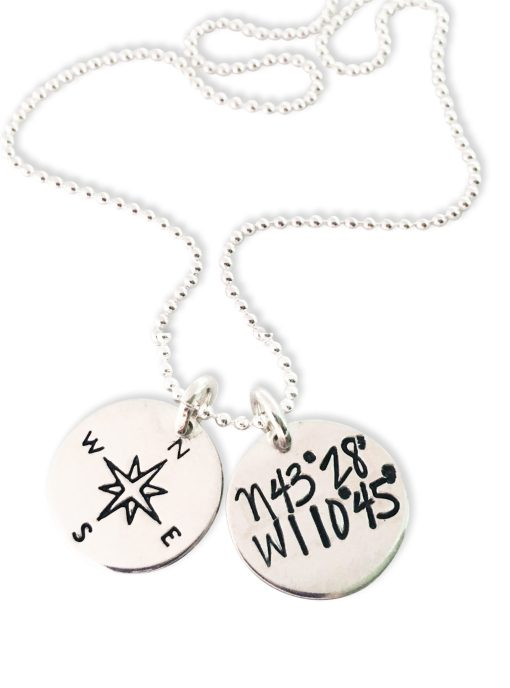 Sterling Dainty Dual Disc Coordinate Necklace Compass Rose