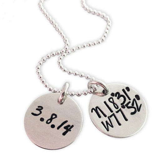 Sterling Dainty Dual Disc Coordinate Necklace Date