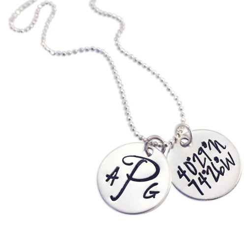 Sterling Dainty Dual Disc Coordinate Necklace Initials