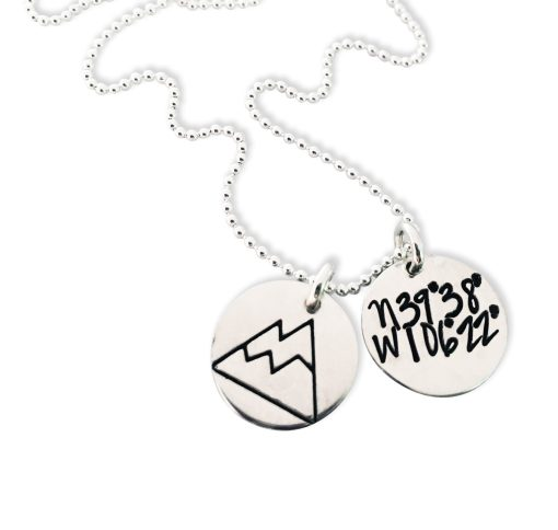 Sterling Dainty Dual Disc Coordinate Necklace Moutain