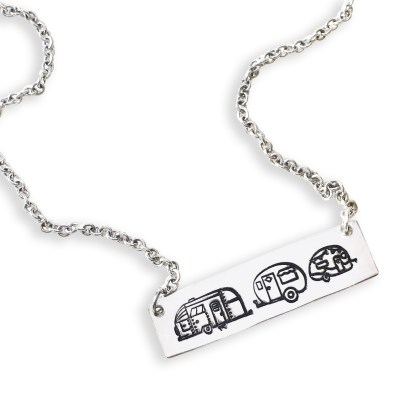 Sterling Silver Happy Camper Necklace