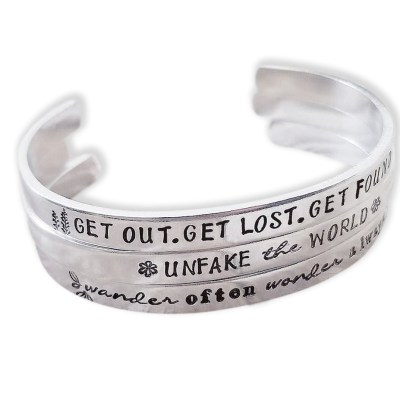 Positive Message Cuff Bracelet with Words