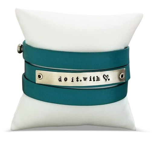 Do It With Love Leather Sterling Wrap Bracelet