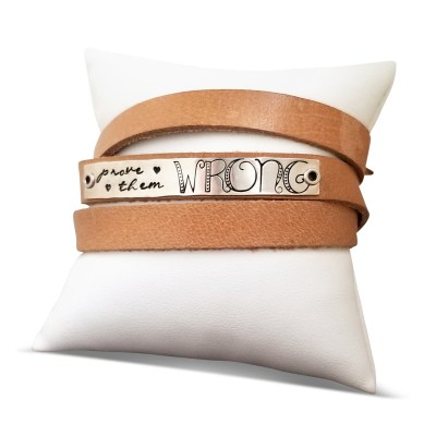 Prove Them Wrong Leather Sterling Wrap Bracelet