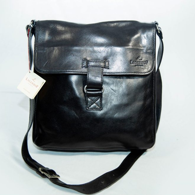 Lagerhof black leather tech bag
