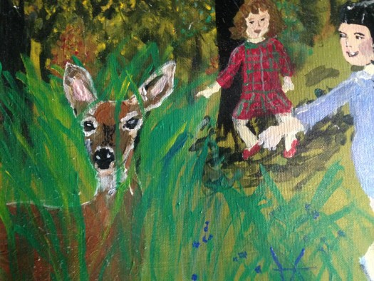 Aya Katz created a painting of the scene when spots the deer in the woods.