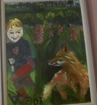 "A painting from the book ""In Case There's a Fox"". (Painting by Aya Katz.)"