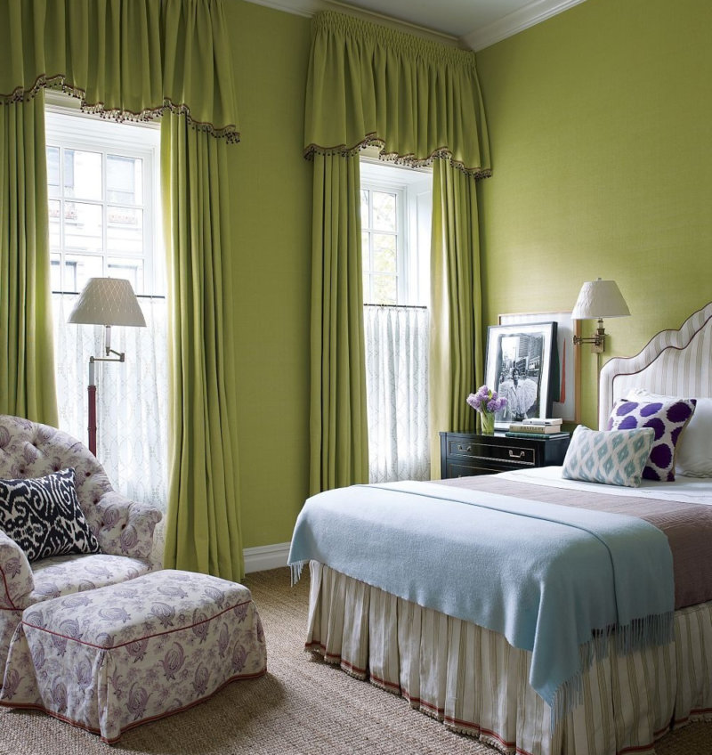 Camera da letto di design con mobili verdi. Camera da letto ...