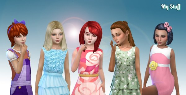 Girls Medium Hair Pack 8
