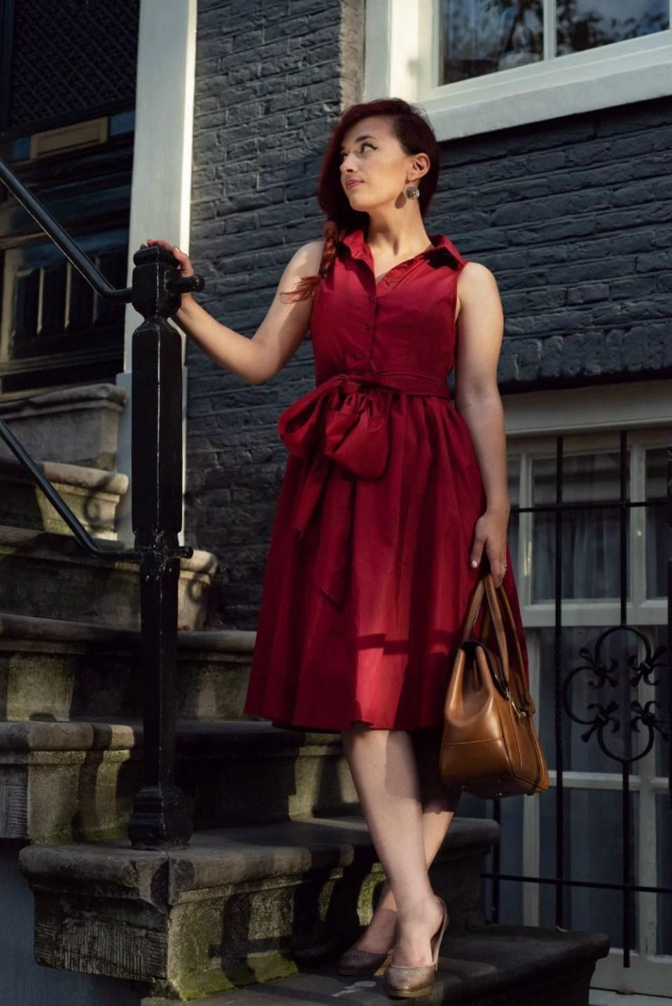 burgundy dress midi lenghts chic
