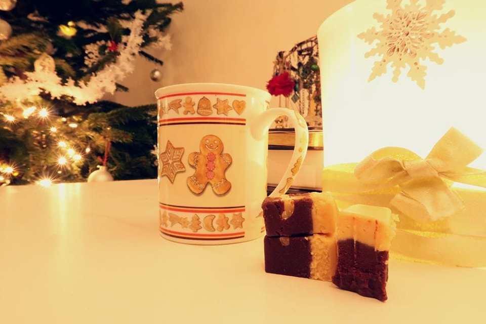 homemade chocolate bars and gingerbread man mug Christmas.jpg