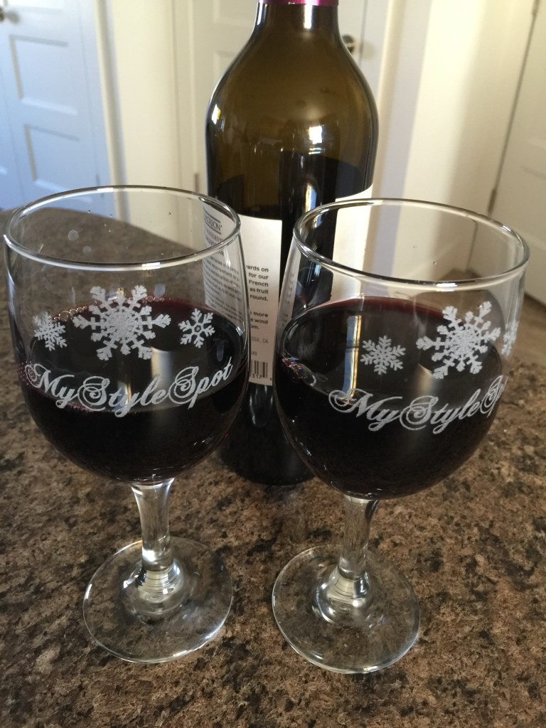 snowflake personalized wine glasses