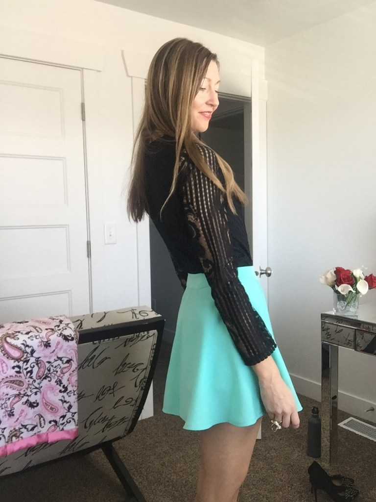 cute black bodysuit and mint skater skirt