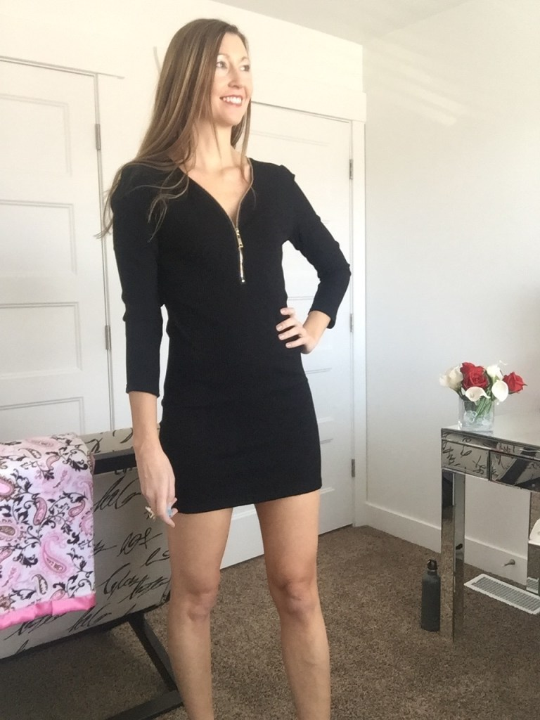 zip up 3/4 sleeve black dress