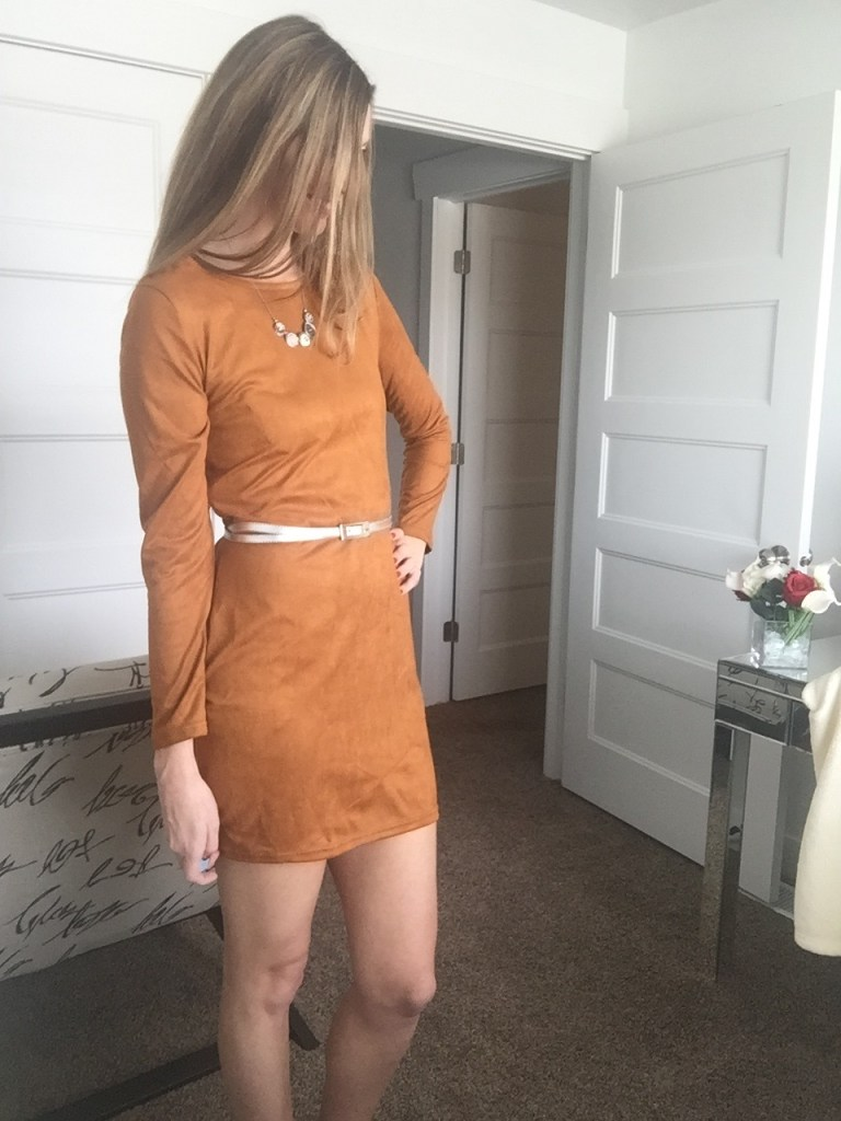 brown suede dress- zeagoo