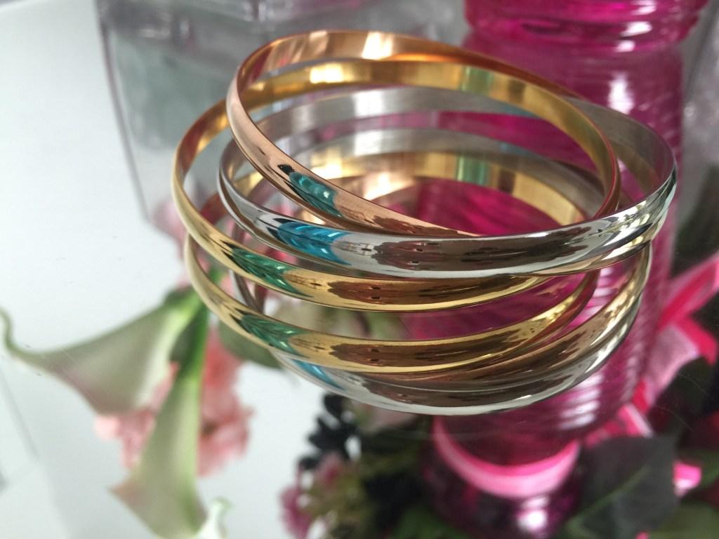 titanium tri color interlocking bangle