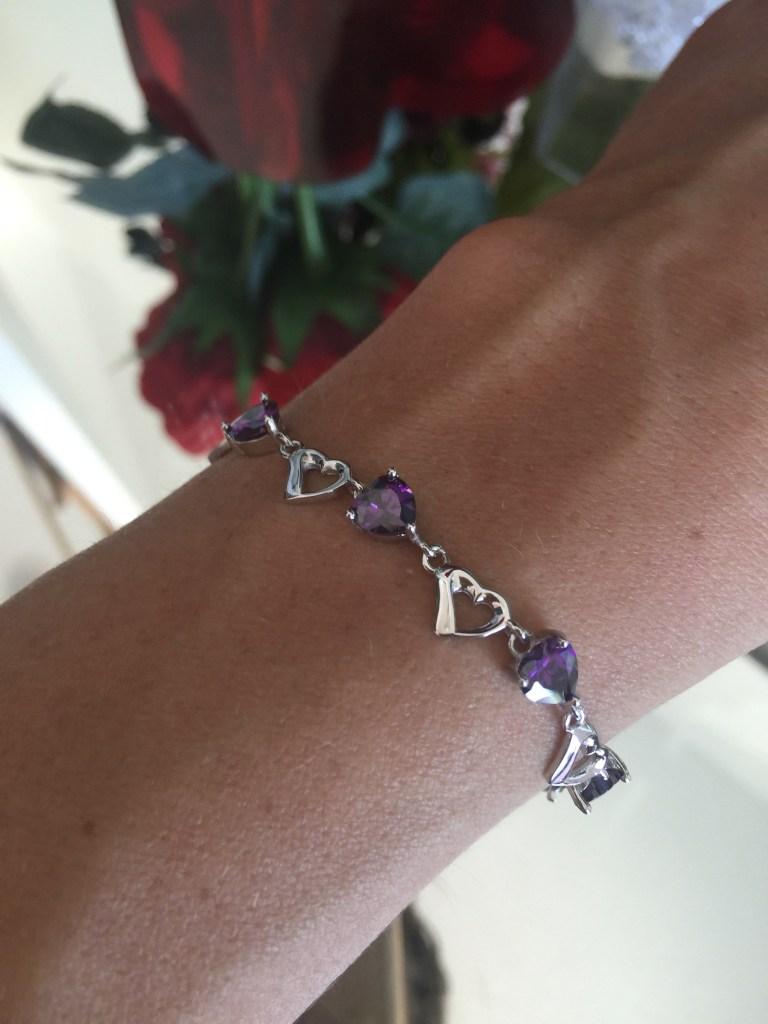 lavender CZ heart bracelet