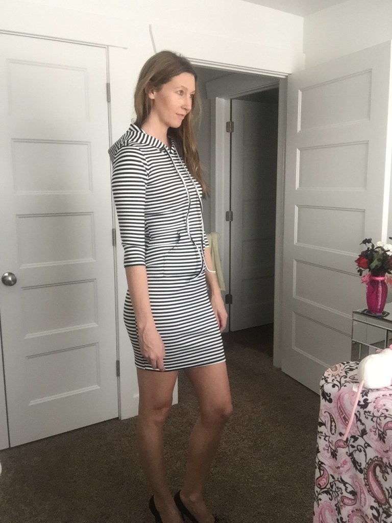 A unique spin on a dress- Its got a hoodie!