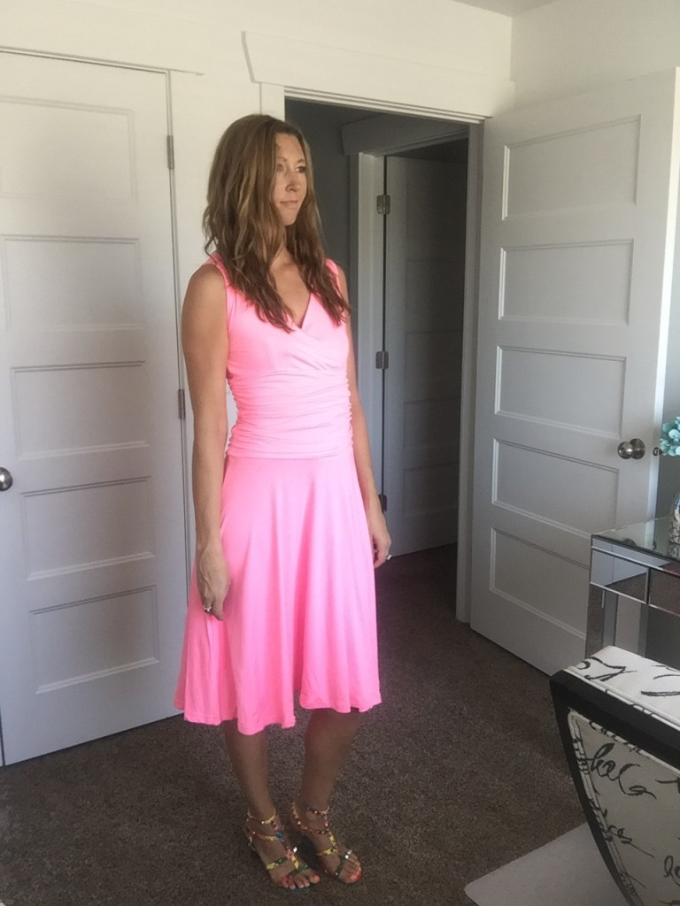 pink waist slimming dress