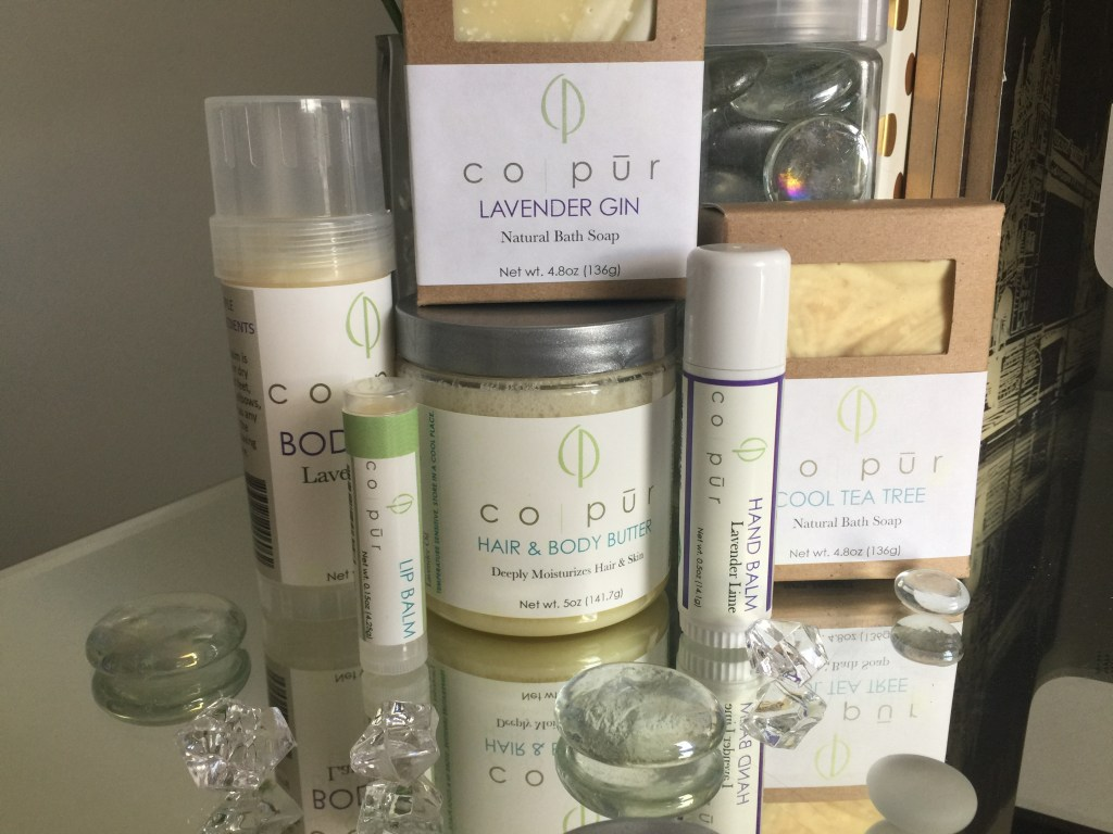Co-Pur Bath and Body Soap, balm, lips