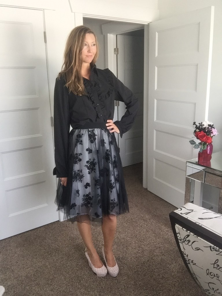 Black Button Down and Floral Overlay Skirt