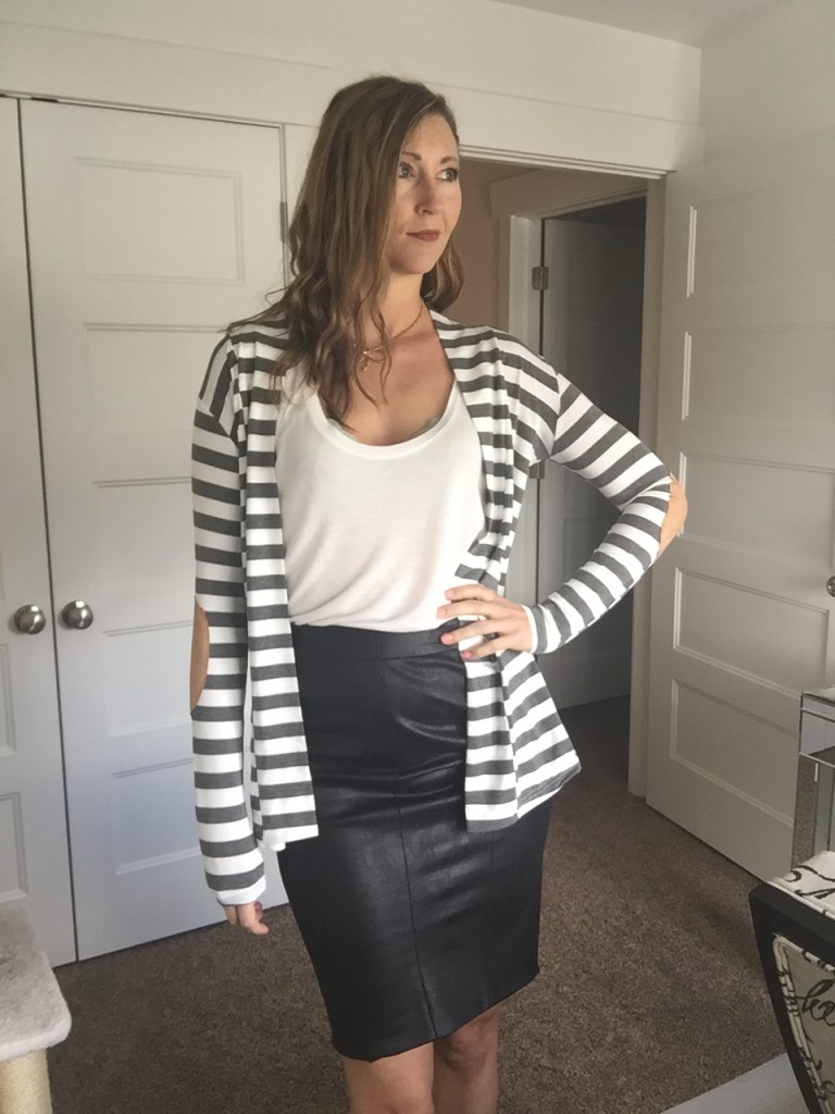 striped blazer cardigan, white tee, and black faux leather skirt
