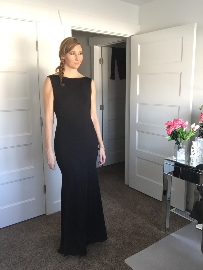 black sleeveless gown