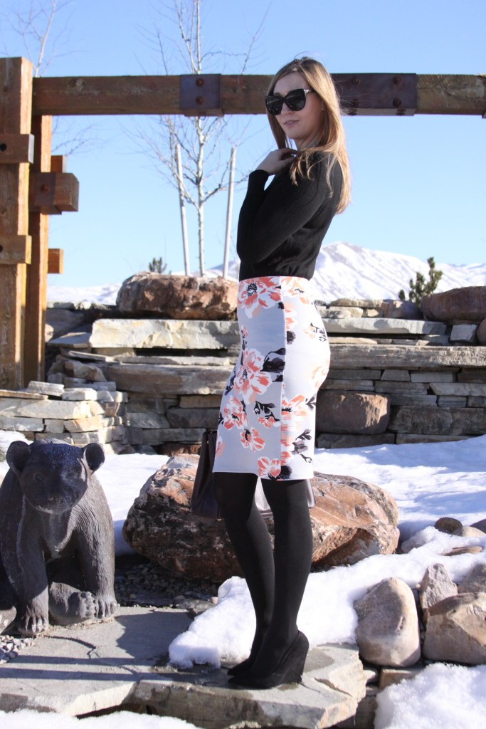 cents of style zia floral stretchy pencil skirt