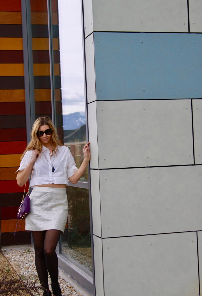 style post: White button down Crop Top and sparkly high waisted skirt