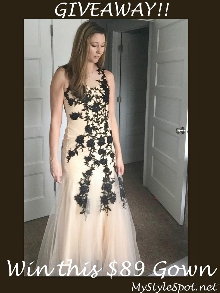 giveaway: win this gorgeous black lace appliqué gown