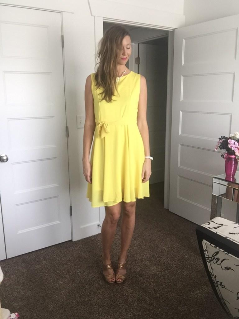 Chic sleeveless tie front yellow dress