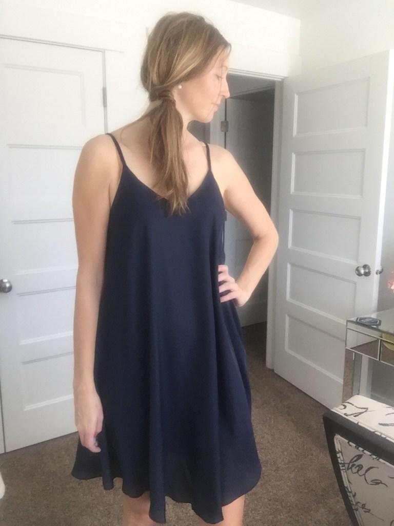 Loose Navy Spaghetti Strap Dress