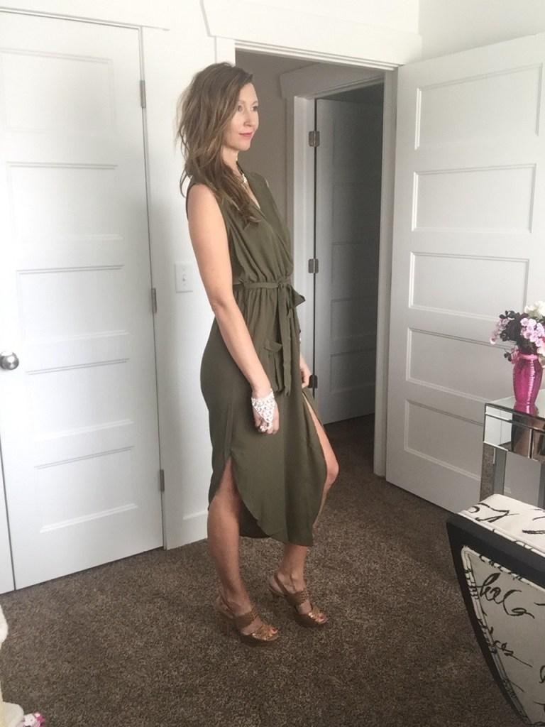 Chic Hi Low Army Green Tie Maxi Dress