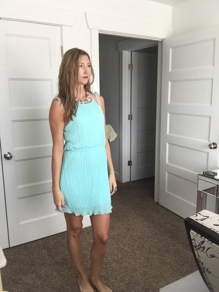 Chic Mint Pleated Dress