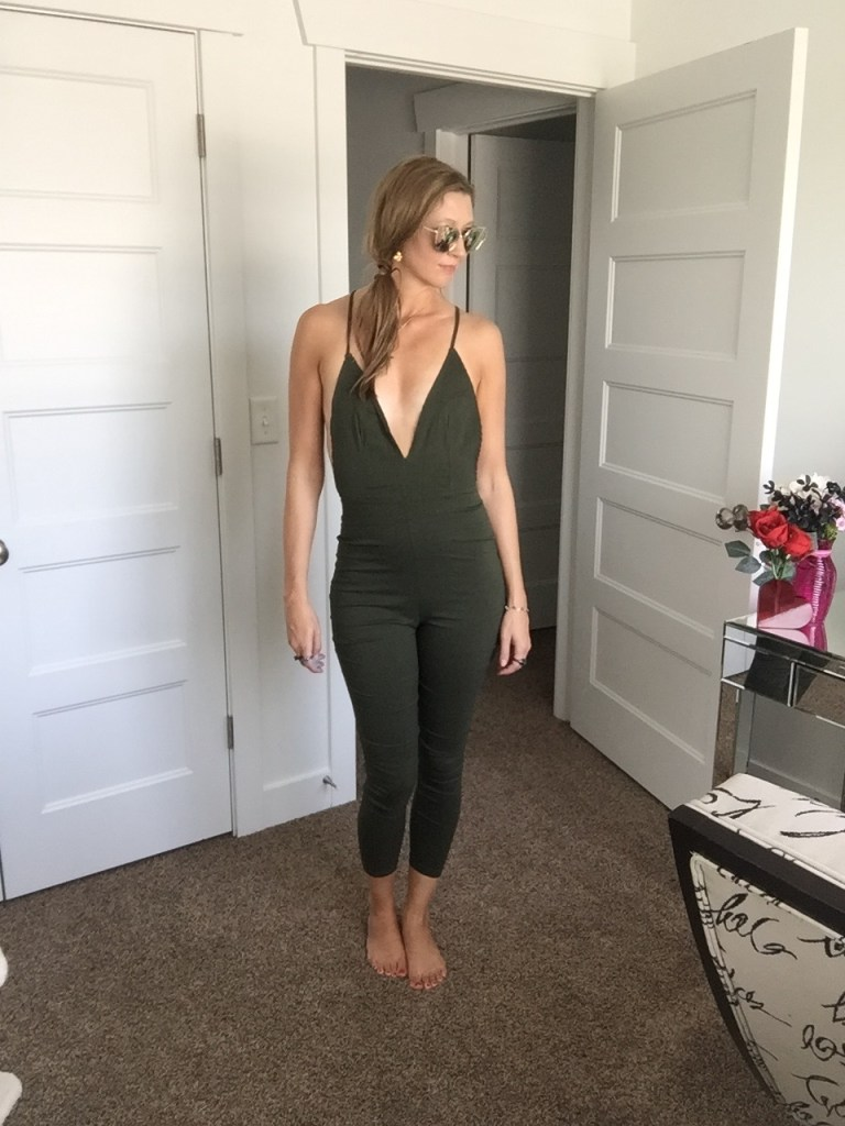 Sexy Low Cut Army Green Fitted Jumpsuit & Mirrored Sunnies