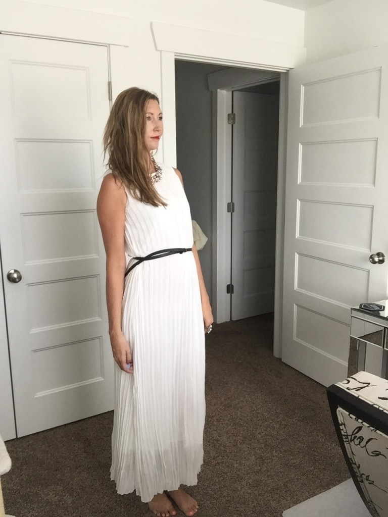 Chic White Pleated Belted Maxi Dress