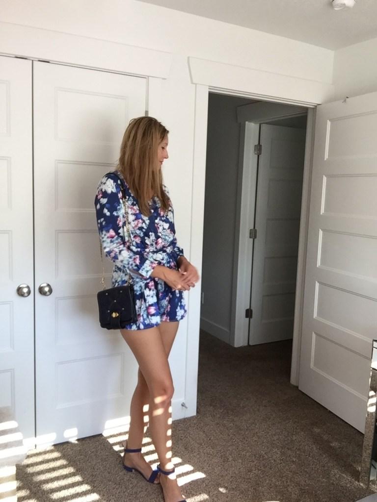 Floral Long Sleeved Romper, Ankle Strap Heels & Shoulder Bag