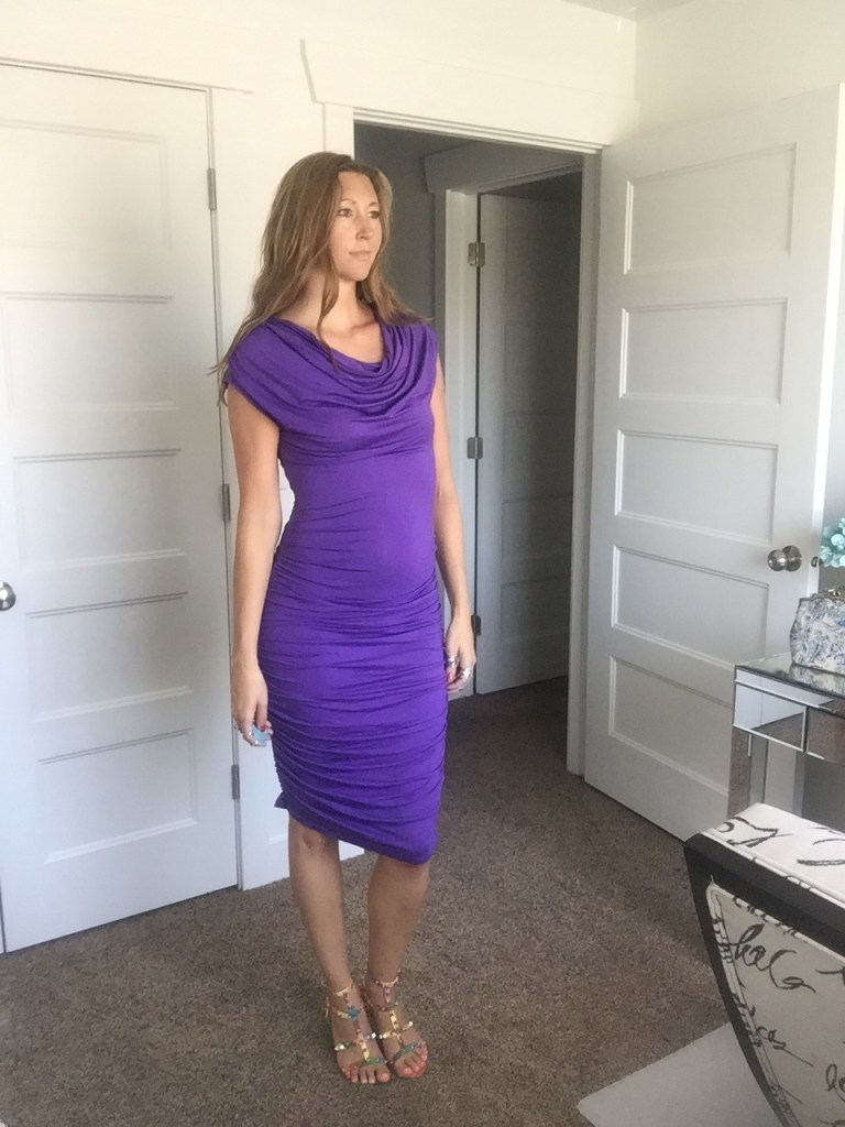 Beautiful Purple Ruched Party Dress